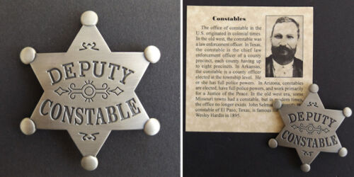 Old West Style Deputy Constable Badge, western, silver, star, John Selman