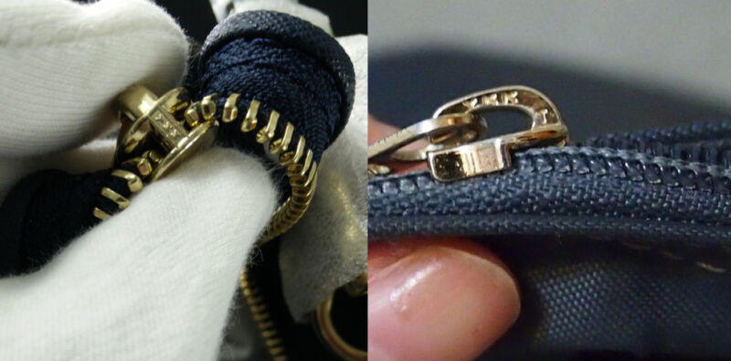 Examples of YYK zippers and where to find the logo.