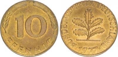 BRD 10 Pfennig 1977 F Fehlprägung: fremder Rohling magnetisch zu klein prfr.-st