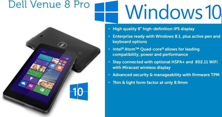 Dell Venue 8 Pro Windows Tablet - New in Box - Windows 10