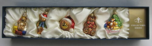 Set of 5 Teddy Bear Feather Tree Glass Christmas Ornaments