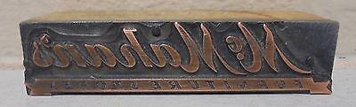 Vintage Mcmahans Metal Wood Letterpress Printing Block Type