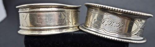 2 Vintage Antique Lightweight Silver ? Napkin Rings 1 Marked 200? & Initials JBR