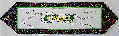 Quilted Mardi Gras Table Runner w/Embroidered Masks & Beads 39.5
