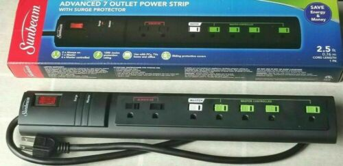 "Sunbeam Advanced 7 Outlet Power Strip w/Surge Protector ""FAST SHIPPING!!!"""