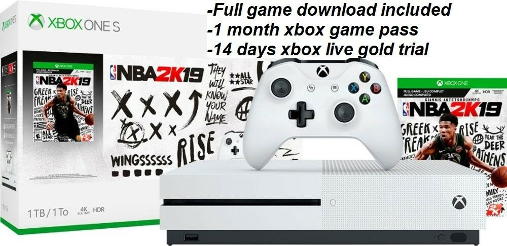 🔥 Brand New Microsoft Xbox One S 1TB Console NBA 2K19 game Bundle 4K Ship Fast!