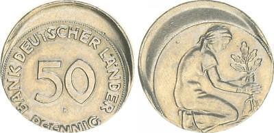 Deutschland 50 Pfennig (1949)  F  J.379 20% dezentriert ohne Rändelung f.vz