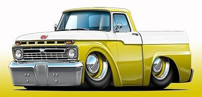1966 Ford F-100 Pickup Truck Classic Car Art Print NEW