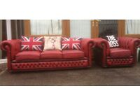 Stunning Vintage Chesterfield 3 Seater Sofa & Chair Low Back Oxblood Red Leather UK Delivery