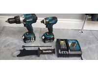 Makita DLX2005MAJ 18V 4.0Ah Combi Drill DHP458 & Impact Driver DTD146 with Charger and Carry Case