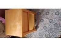 Very heavy solid oak bedside table