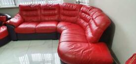 Red Leather Sofa from DFS