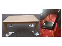 Brand New Oak Effect Dining Table & 6 Black Leather Chairs High Back FREE DELIVERY 001a