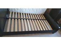 Faux Leather dark brown double bed
