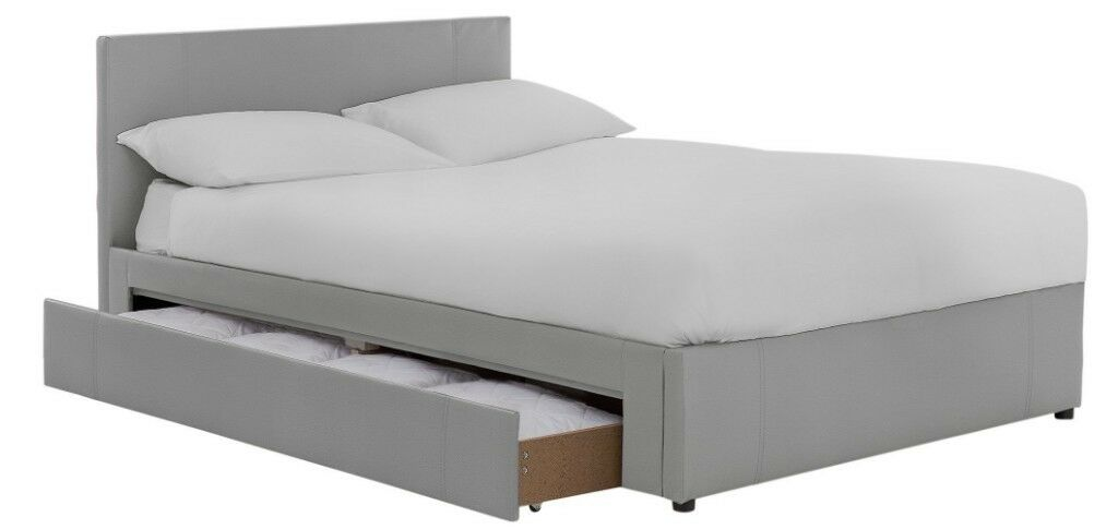 Ex Display Hygena Keating 1 Drawer Grey Bed Frame Kingsize