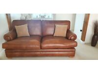 2 x Parker Knoll Tan Large 2 Seater Sofa