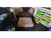 Cuddle Chair / Love Chair and Pouffe (Great Condition)