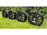 NEW SET OF 4 BLACK ALLOY WHEELS BMW / VAUXHALL INSIGNIA - ALLOYS - PCD 5x120 - 325 POUNDS ONO