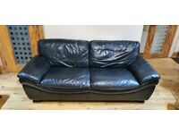 2 x Black Leather 3 seater settee