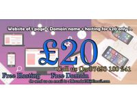 Website design ( 1 page + Domain name + hosting ) for £20 only !