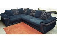 Corner Sofa Charcoal/Navy Blue.