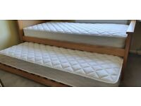 Single Pine 3ft Wooden Bed with pull out trundle Guest bed- never used.