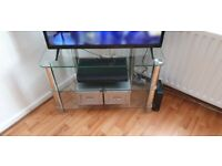 Glass tv stand and matching occasional table