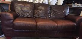 3 + 1 SEATER BROWN LEATHER SOFA