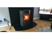 Barbas ECO 800 Wood Burning Stove with Soapstone Casing, Storage Drawer and Black Marble Hearth