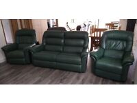 Genuine La-Z-Boy leather three-piece suite with recliner chairs (green