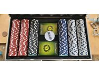Poker chips and playing card set in metal box