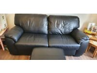 3 & 2 leather Couch plus matching footstools