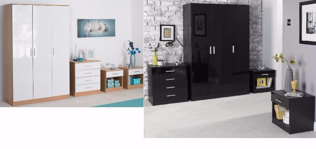 * MANY COLOURS** 4 PC Gloss Bedroom Set 3 Door Wardrobe / Chest/ 2 Bedside Cabinet (Matching bed)