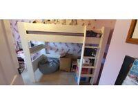 White single high sleeper bed