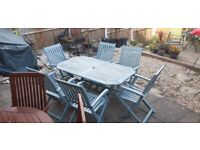 SOLID WOODEN PATIO TABLE with SIX SOLID WOODEN FOLDING CHAIR'S