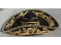 """BLACK GOLD MEXICAN SOMBRERO WESTERN COWBOY HAT - 23"""" X 18"""" X 7"""" TALL - SIZE 6 5/8"""