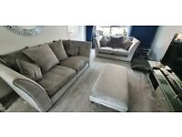 DFS silver/ grey 2 & 3 seater sofa with foot stool