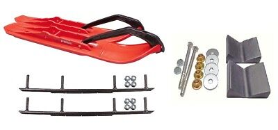 """C&A Pro Red XCS Snowmobile Skis w/ 8"""" Round Bars Complete Kit"""