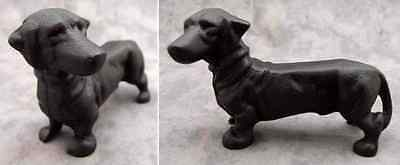 BLACK DACHSHUND DOG Cast Iron DOORSTOP STATUE