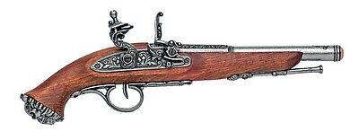 Denix 18th Century Pirate Flintlock Pistol Replica Gun - Gray Finish
