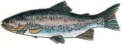 Fish Rainbow Trout (Realistic Rainbow Trout Game Sport Trophy Fish Embroidery Patch Facing Left )