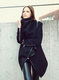 Ladies New Black Waterfall Style Fashion Cape Poncho Coat.Size 14.