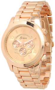 Geneva Boyfriend Style Rose Gold Plated Designer Chronograph Metal Band Watch
