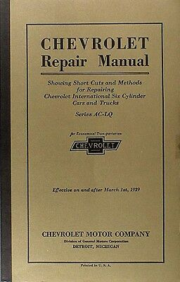 Best Shop Manual For 1929 Chevrolet Car Truck 29 Chevy Repair Service Book