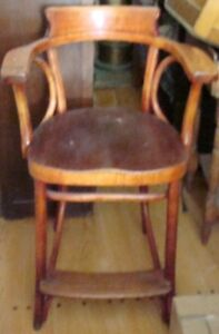 Antique Rare Bentwood Pre-1900 Wooden Barber Chair