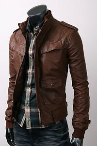 Mens Premium Design Casual Stylish Vintage Zip-Up Leather Jackets on SALE