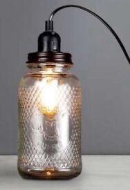 Dunelm glass jar table lamp