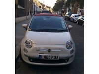 White Fiat 500C 1.2 Lounge 2dr convertible with Italian go faster stripe!