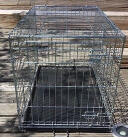 Silver medium dog crate for sale