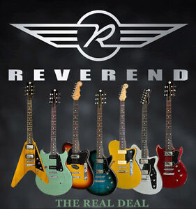 Airline, Eastwood, Reverend, Peavey, and Yamaha electric guitars